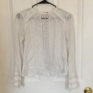 Free People victorian embroidered lace blouse